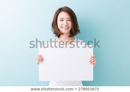 小さな 笑顔の女性 ボード ホワイトボード 孤立した ストックフォト © user_9834712