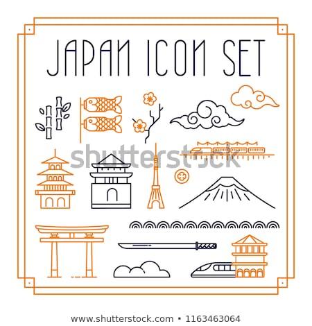 Asian cadre koi illustration résumé Photo stock © lenm