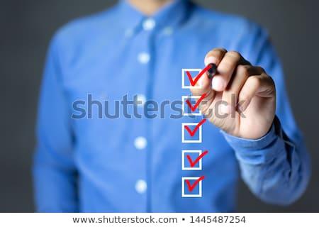 Stock fotó: Lista · 3d · emberek · férfi · személy · üzletember · piros