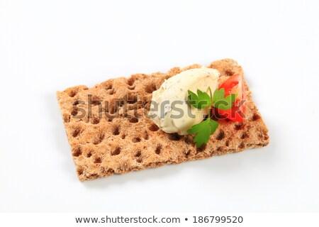 whole grain crispbread with cream cheese mousse stock photo © digifoodstock