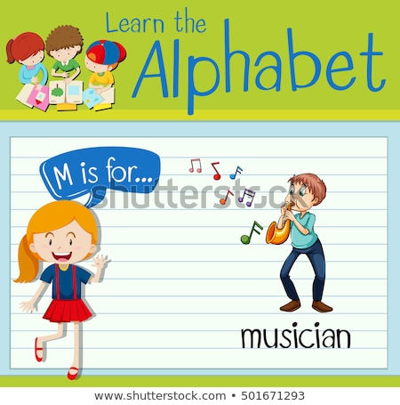 Flashcard alphabet M is for musician Stock photo © bluering