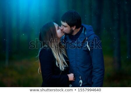 Pár csók illusztráció férfi csók sziluett Stock fotó © adrenalina