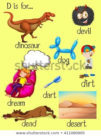 Lettera d sporco illustrazione ragazzi bambino sfondo Foto d'archivio © bluering