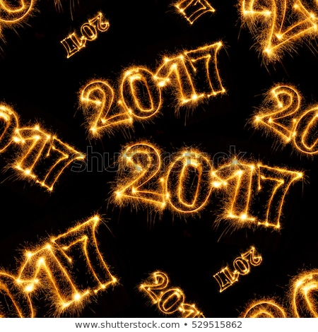 Seamless pattern of Happy New Year - 2017 with sparklers Stock photo © vlad_star