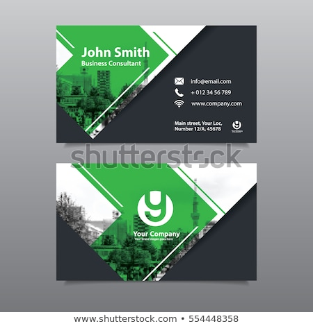 corporate business card template in green color and abstract geo stock photo © sarts