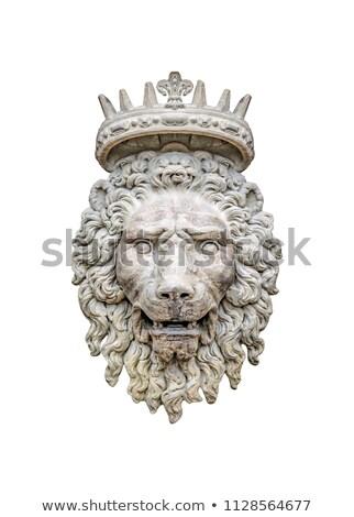 Сток-фото: голову · рельеф · старые · каменной · стеной · лев · скульптуры