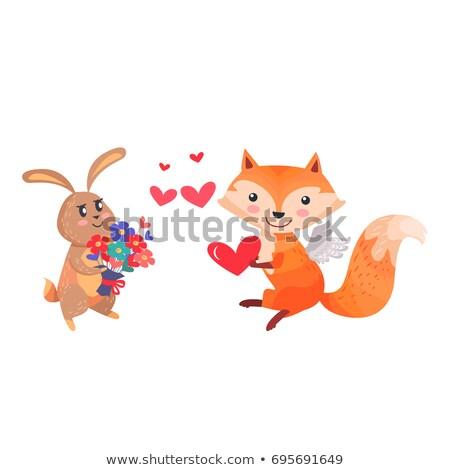 Róka angyalszárnyak szív mancsok izolált piros Stock fotó © robuart