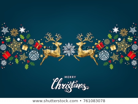 Merry Christmas  card with  gold holly Stock photo © fresh_5265954