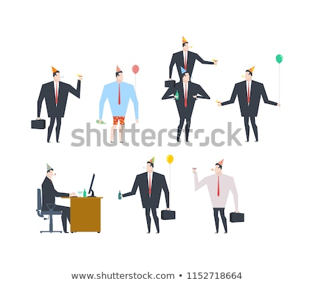Businessman at party. Celebratory cap and Party horn. alcohol. M Stock photo © MaryValery