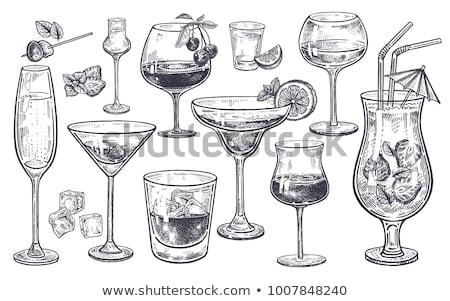 Koktél citrom izolált üveg pezsgő étel Stock fotó © MaryValery
