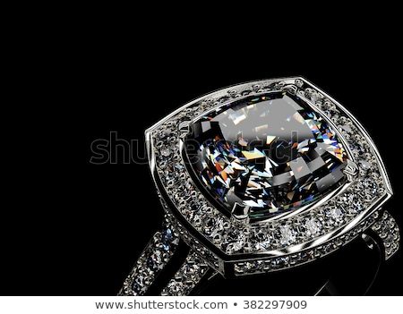 Stock photo: Silver ring with big diamond