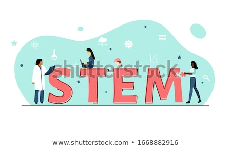 Girls learning and stem education sign Stock photo © bluering