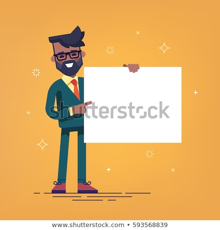 Empresário branco cartaz homem projeto Foto stock © NikoDzhi
