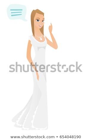 Young caucasian fiancee with speech bubble. Stock photo © RAStudio