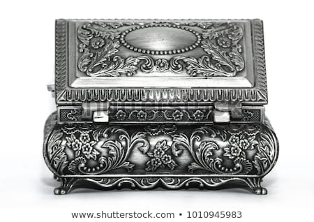 Zilver oude metalen sieraden bloem achtergrond Stockfoto © tito