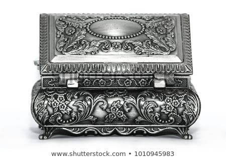 prata · velho · metálico · jóias · flor · fundo - foto stock © tito