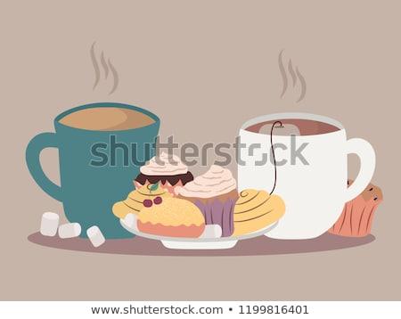 Malvavisco té tortas arándano melocotón madera Foto stock © Digifoodstock