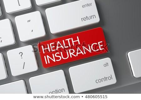 Seguro de saúde teclado ilustração 3d vermelho Foto stock © tashatuvango