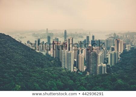 Hong kong tall buildings in haze Stock photo © Juhku