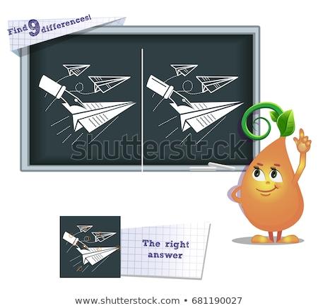 Oyun bulmak farklılıklar kağıt uçak çocuklar yetişkin Stok fotoğraf © Olena