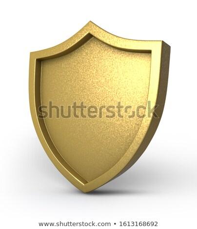 3D dourado escudo projeto metal assinar Foto stock © almir1968