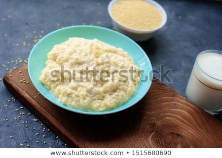 Tigela colher isolado alimentação saudável café da manhã pão Foto stock © MaryValery