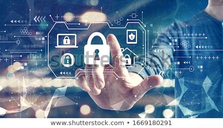 Veiligheid lijn ontwerp bescherming internet gegevensbescherming Stockfoto © Genestro