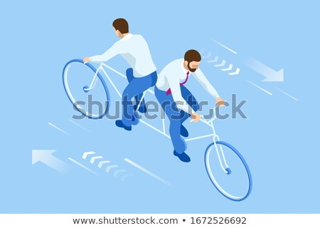 Competition Businessmen on bicycle tandem ride in different dire Stock photo © MaryValery