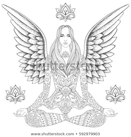 Hand drawing meditating woman and chakras Stock photo © Sonya_illustrations