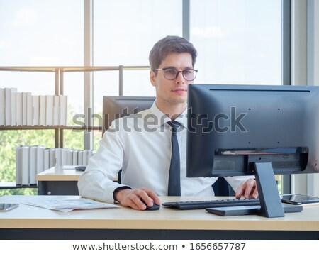 businessman at window pane happy stock photo © is2