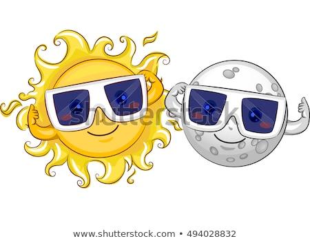 Mascotte zonne eclips illustratie maan zon Stockfoto © lenm
