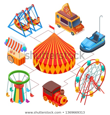 striped circus tent isometric 3d element stock photo © studioworkstock