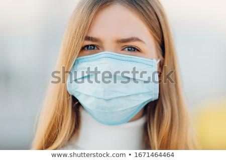 Mulher máscara cirúrgica céu segurança proteção Foto stock © IS2