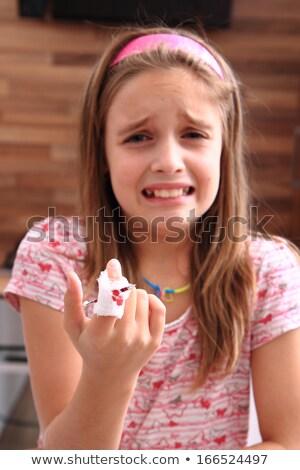 Lány vérzés ujj illusztráció kéz egészség Stock fotó © bluering