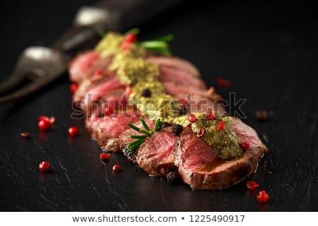 Et biftek yeşil pesto atış Stok fotoğraf © Melnyk