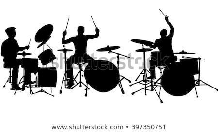 Silhuetas conjunto tambor tambor músico Foto stock © Krisdog
