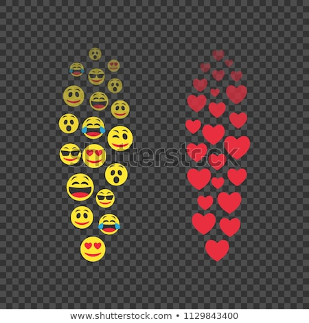 Flying Emoji and hearts. Various emoji in move. Red hearts in move. Expression of audience emotions. stock photo © AisberG