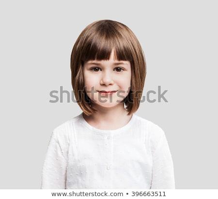 Schoolmeisje witte ingesteld glimlach school Stockfoto © toyotoyo