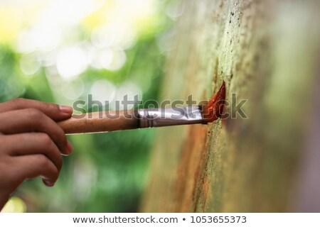 Sanatçı el boya fırçası renk paletine Stok fotoğraf © dolgachov