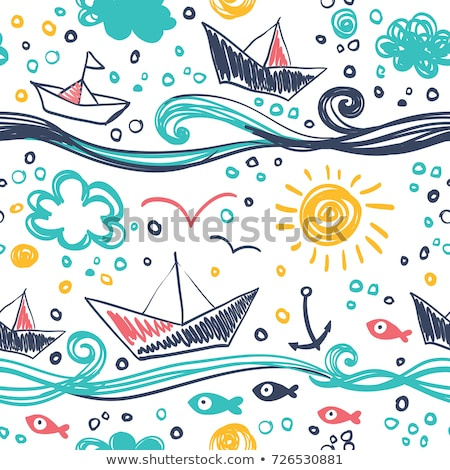Seamless background with clouds in the sky, the sea and the sandy shore. Vector cartoon close-up ill Stock photo © Lady-Luck