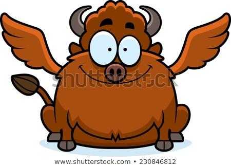 Cartoon buffalo wings glimlachend illustratie gelukkig jonge Stockfoto © cthoman