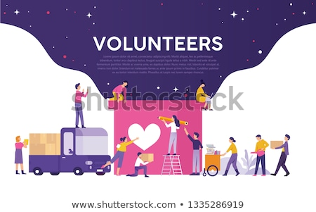 Happy Volunteers Working, Vector Illustration Stock photo © robuart