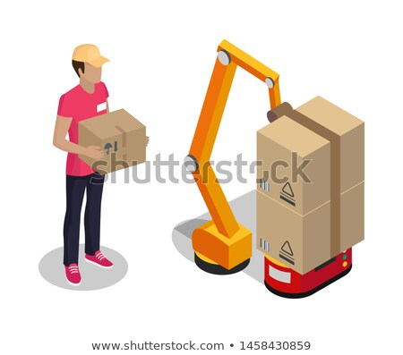 Plant Worker Holding Cardboard Box Color Poster Stock photo © robuart