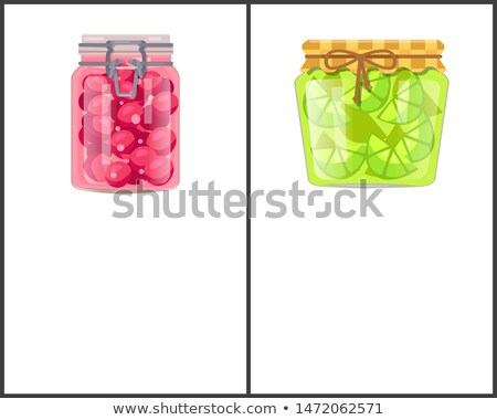 Preserved Food Poster Lime or Lemon Sweet Cherries Stock photo © robuart