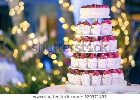 mavi · düğün · pastası · beyaz · düğün · fincan · kekler - stok fotoğraf © ruslanshramko