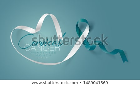 Cervical Cancer Awareness Month. Realistic Teal White ribbon symbol. Medical Design. Vector illustra stock photo © olehsvetiukha