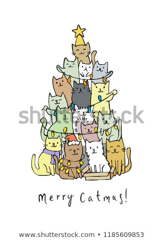 Christmas cat tree, vector illustration Stock photo © beaubelle