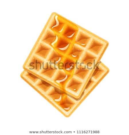 belgian waffle with honey sweet dessert for breakfast vector ill Stock photo © konturvid
