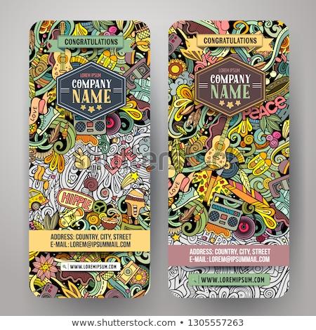 Hippie hand drawn doodle banners set. Cartoon detailed flyers. Stock photo © balabolka