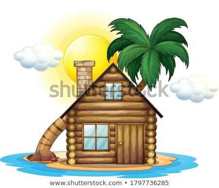 Ilha casa de campo ilustração água paisagem Foto stock © colematt